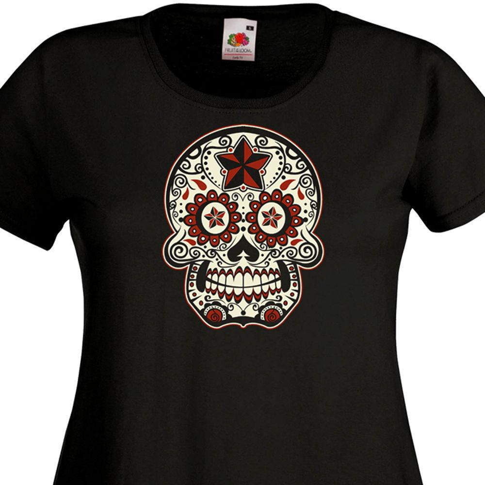 T Shirt Femme Calavera Tete De Mort Mexicaine Tattoo Mexique