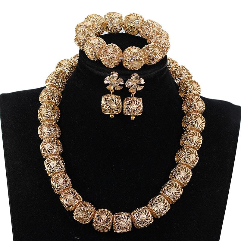 b7dd8ec1bf Unique Square Gold Beaded Accessory Jewelry Set For Women African Wedding  Copper Necklace Set Various Chunky Jewelry Gold WE224 Pearl Bridal Jewelry  Sets ...