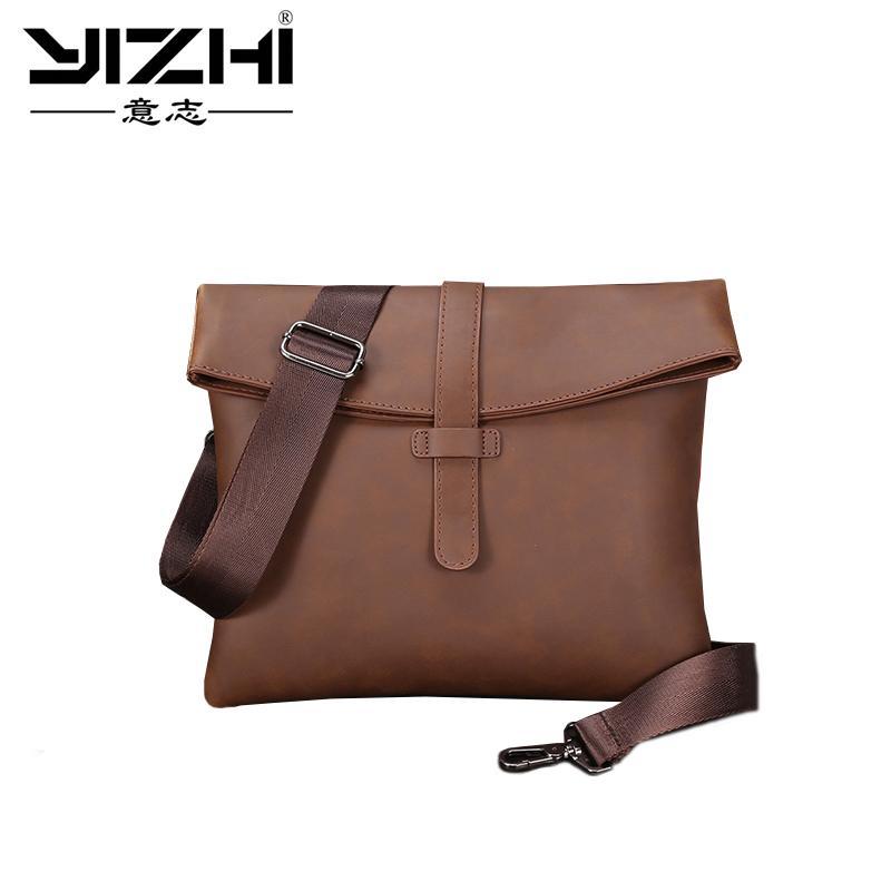 New Crazy Horse PU Leather Men Bag Small Coin Purse Shoulder Bag Vintage  Design Handmade Zipper Style Messenger Bags Handbags Small Purses Designer  ... 3be0d41a098e4