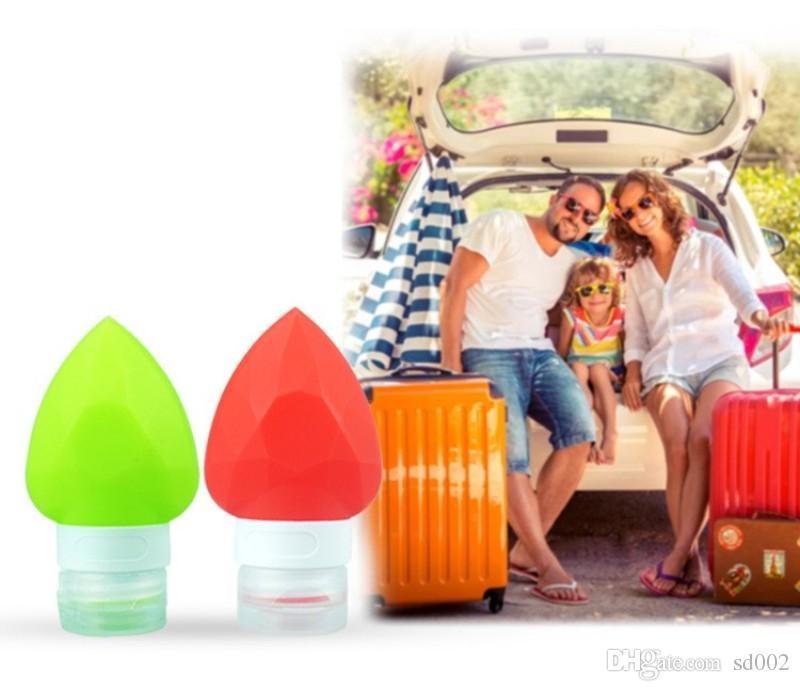 Gel de sílice blando Botella vacía Cinco colores Fácil de transportar Squeeze Container Botellas de almacenamiento de viaje de silicona en forma de corazón de amor Nuevo 4zc B