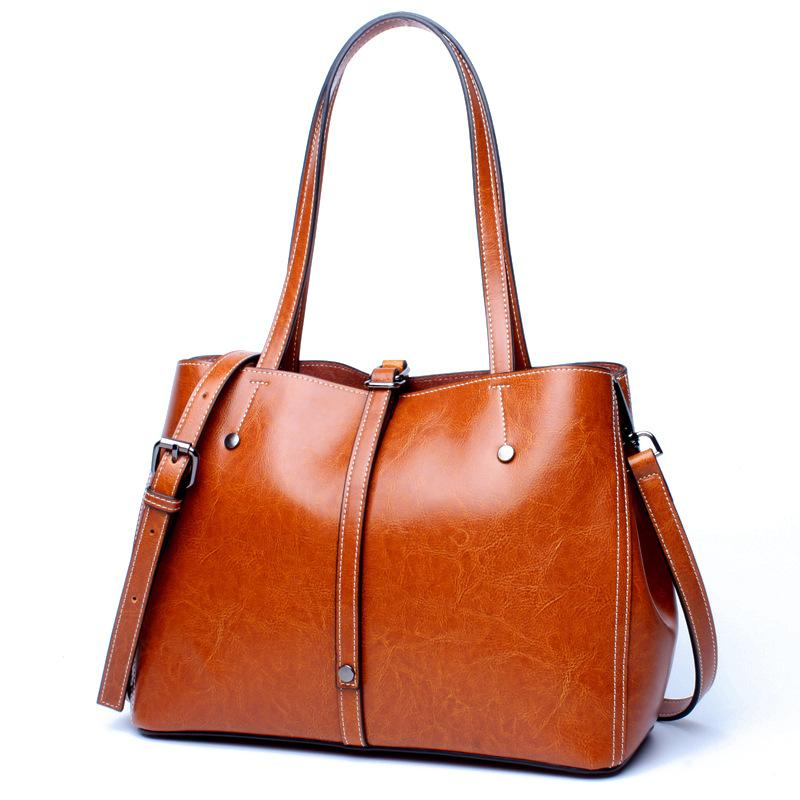 e9183e0803f4 Women Genuine Oil Wax Leather Large Capacity Tote Hand Bags Ladies High  Quality Female Shoulder Message Crossbody Satchel Bags Shoulder Bags Laptop  Bags For ...