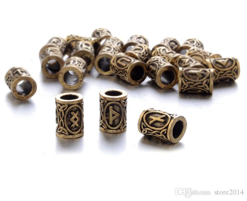 24 pz Top Argento Norse Vichinghe Rune Charms Perle Risultati I Braccialetti Ciondolo Collana Barba O Capelli Vikings Rune Kit