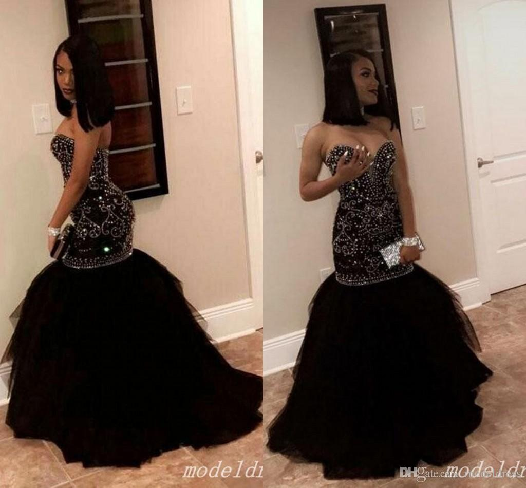 c47f676c76 Compre Vestidos De Baile De La Sirena Africana Negra Sweet Heart Sweep  Train Major Beading Vestidos De Fiesta Vestidos Largos Para Ocasiones  Especiales ...