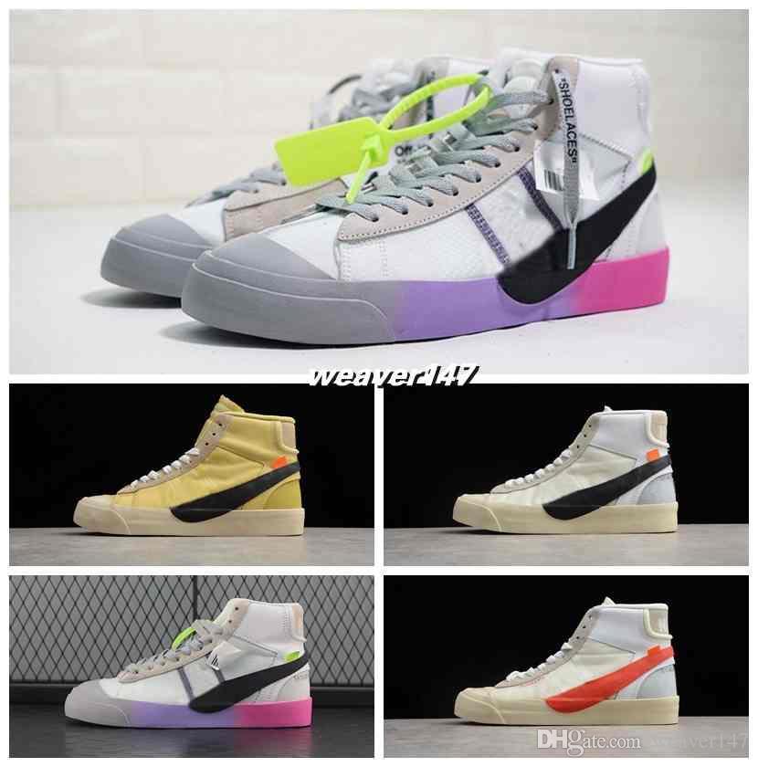 detailing 8d05c 721ea Compre Off 2018 New Blazers Mid Queen Aa3832 100 Ow Zapatillas De Deporte  Negro Amarillo Rainbow Zapatillas Deportivas Hombre Mujer Diseñador  Chaussures 5 ...