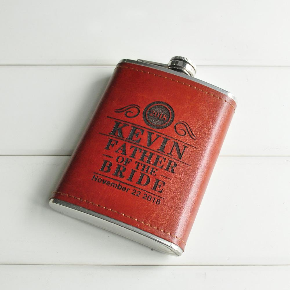 Custom Leather Flask Handmade Hip Flasks Personalized Wedding Gift