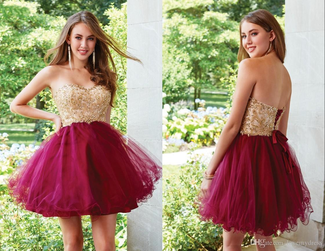 97267eb30fbf Sparkly Gold Crystal Short Homecoming Prom Dresses 2018 Cheap Sweetheart  Burgundy Tulle Empire A Line Tulle Corset Party Graduation Dress Dress  Dresses From ...
