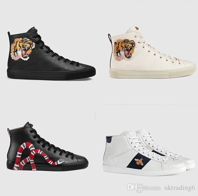 d20e6a1d7a6 Acheter Promotions Discount Nouvelles Chaussures De Sport En Cuir Véritable  De Haute Qualité Pour Hommes Casual Baskets Montantes Blanches Et Blanches  Tête ...