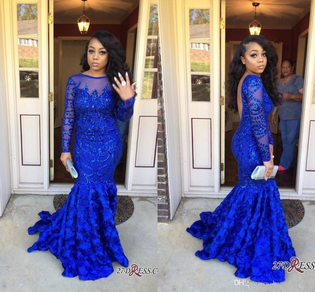 7caa48f9 2018 Black Girls Royal Blue Mermaid Long Prom Dresses Sheer Long Sleeves 3d  Floral Skirt Sequins Beaded Formal Party Evening Gowns BA8275 Low Price  Prom ...