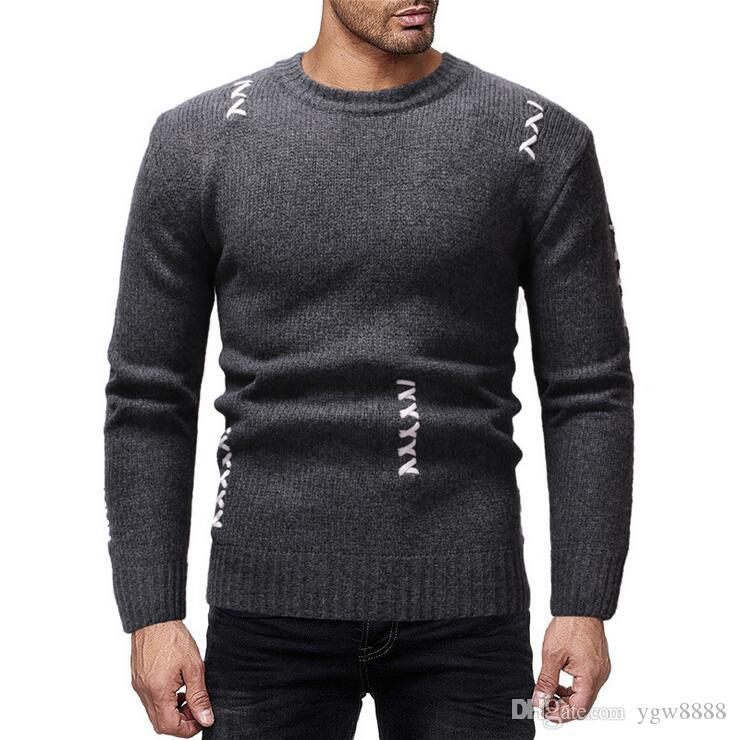 Hot sale 2018 autumn and winter new 3 color men's casual pullover round neck long sleeve sweater #MY85