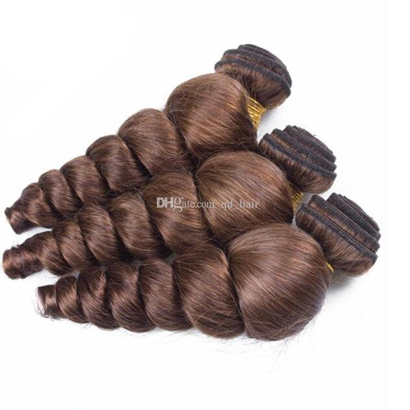 Brasiliana sciolto trama dei capelli dell'onda con chiusura con capelli del bambino cioccolato marrone onda sciolto pacchi di capelli umani con chiusura in pizzo 4 pz / lotto