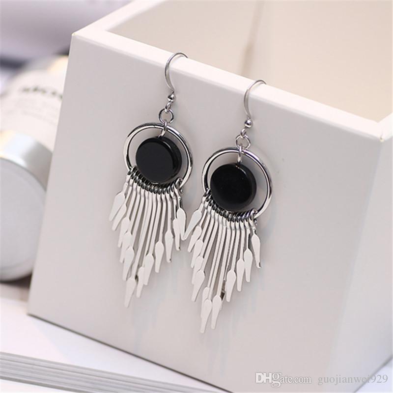 New Listing fashion simple style geometric Round metal chain Article tassel earrings elegant ladies alloy earring