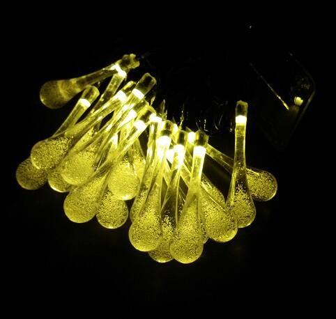 Envío gratis colorido raindrop lámpara solar a prueba de agua de vacaciones de navidad al aire libre jardín decoración hada batería solar cadena de luz