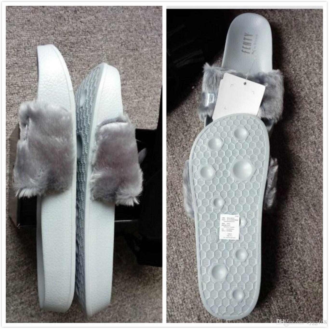 best service f14fb 3a92d (With Box and Dust Bags)Leadcat Fenty Rihanna Shoes for Women Slippers  Indoor Sandals Girls Fashion Scuffs Pink Black Grey Fur Slipper