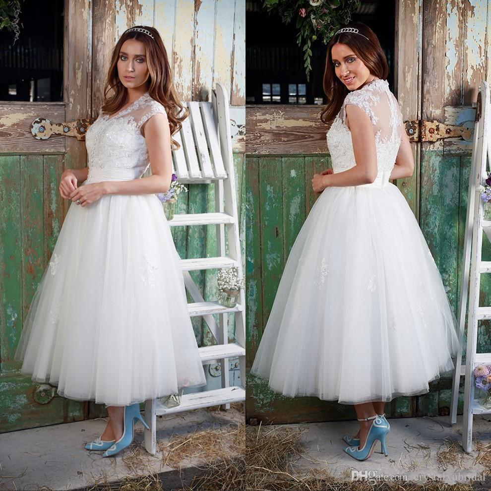 0635d63dd7b Discount 2018 Vintage Short A Line Wedding Dresses Cheap V Neck Cap Sleeves  Illusion Lace Applique Beads Plus Size Tea Length Tulle Bridal Gowns Bridal  ...