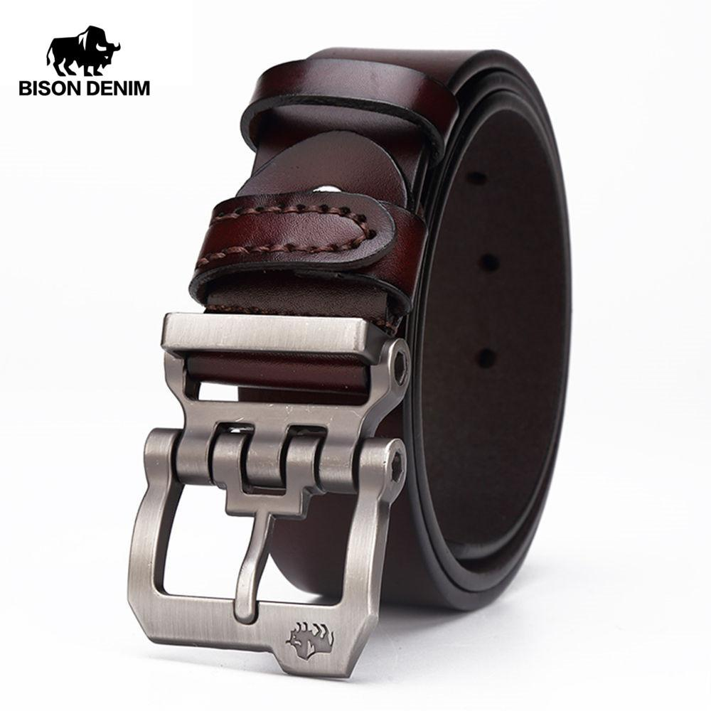 c2aa8c8f0f BISON DENIM Genuine Leather Belt For Men Gift Designer Belts Men S High  Quality Cowskin Personality Buckle