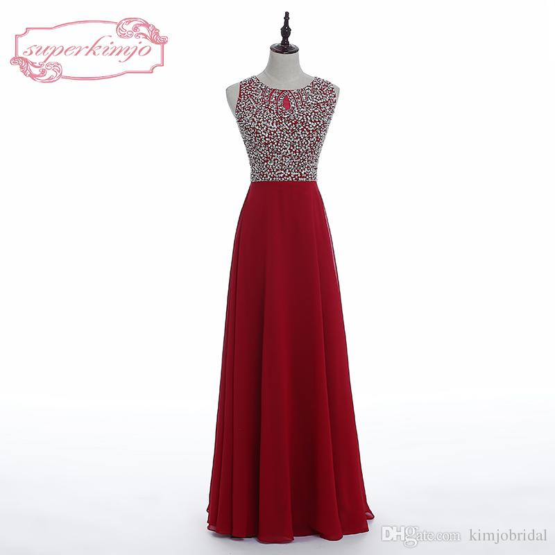 Real Picture Evening Dresses Dark Red Crew Neckline Beading Sequins Sparkly Chiffon Long Floor Length Cheap Red Prom Dresses