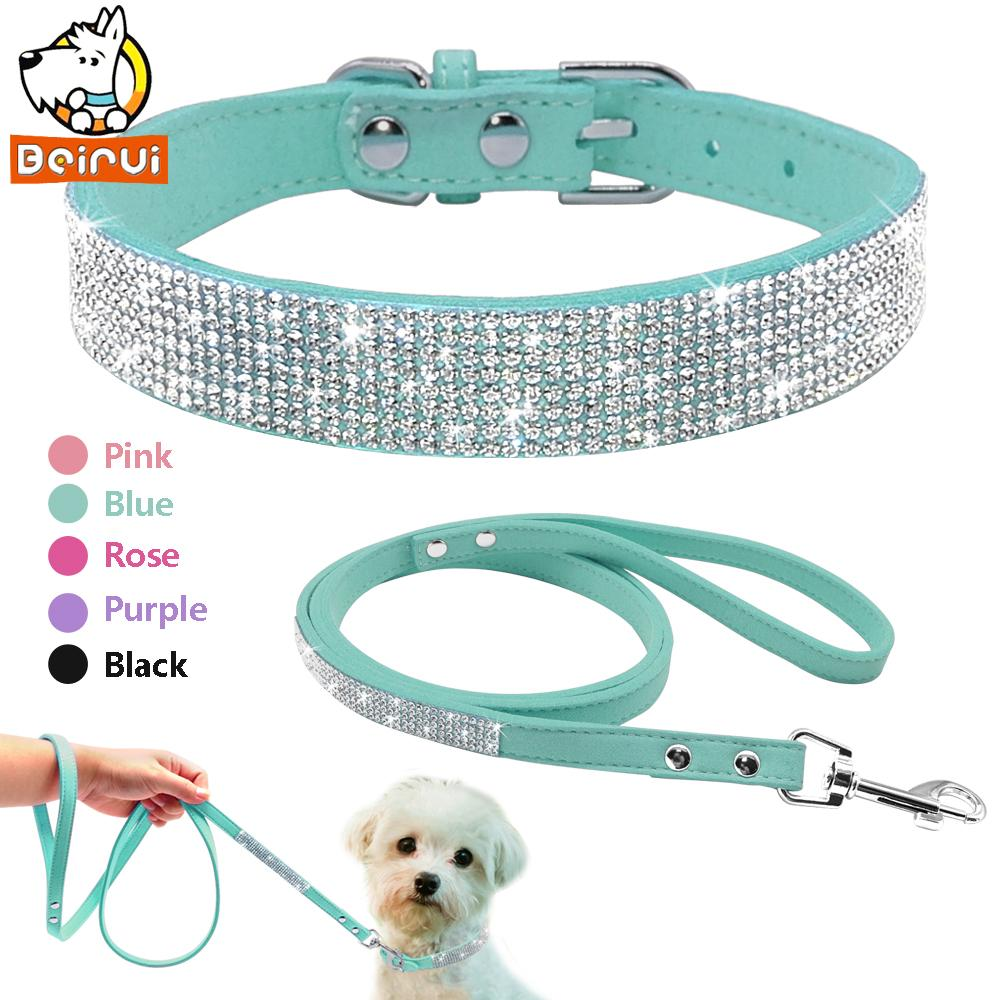 b7d7c724051 2019 Suede Leather Dog Collar Leash Set Full Rhinestone Crystal Soft  Material Adjustable Small Dogs Cat Pets Collars Leads Chihuahua From  Qiangweiflo