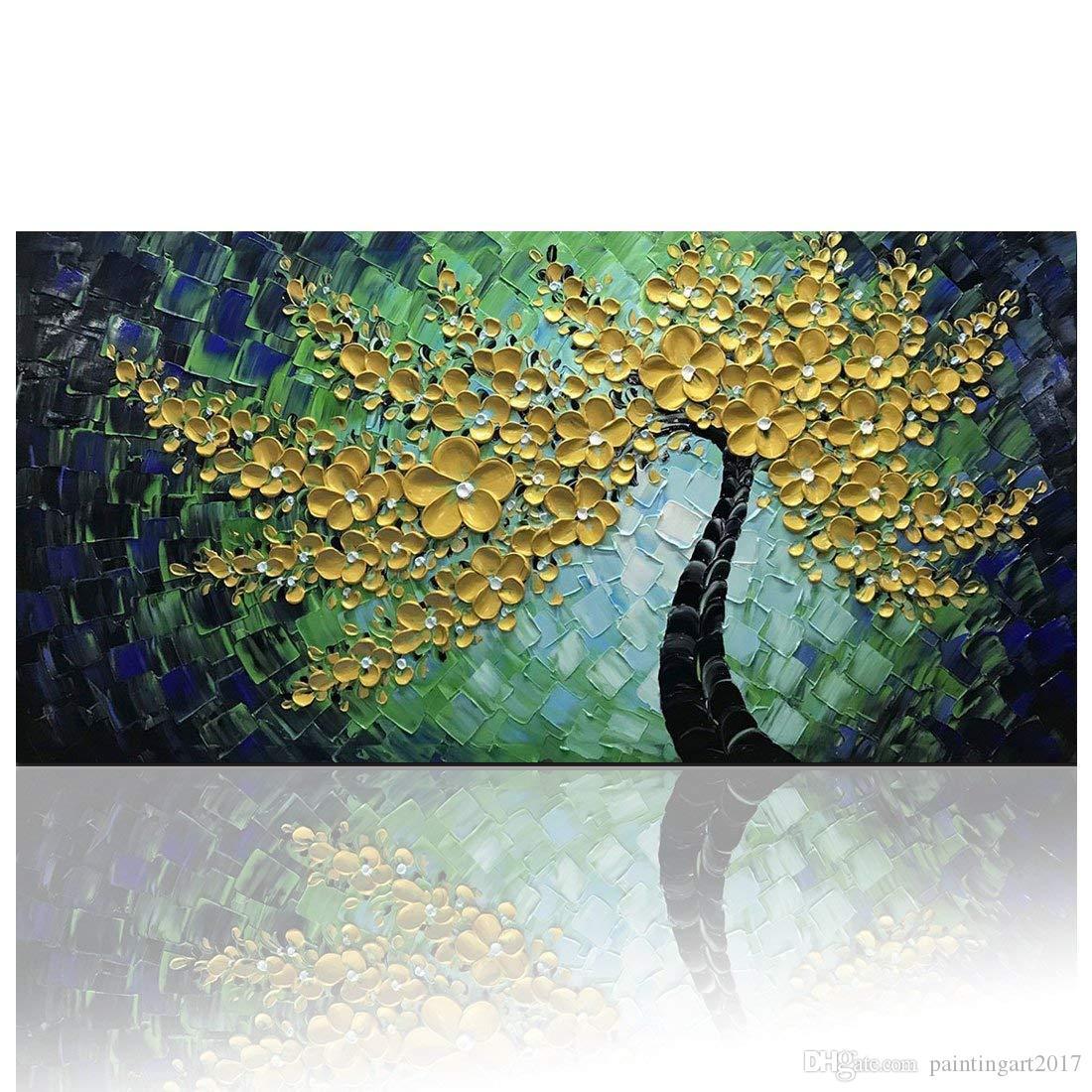 Quadri di fiori d oro verde su tela dipinti ad olio astratti dipinti quadri  moderni dipinti a mano immagine quadrata