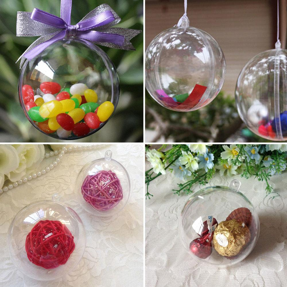 20pcs 10cm Plastic Clear Christmas Decorations Hanging Ball Bauble Candy Ornament Xmas Tree Outdoor Decor Clear Baubles