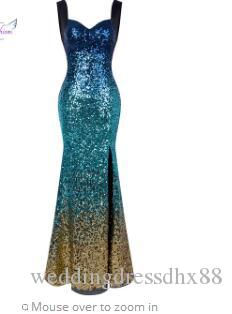6099e0a903a7 Angel Fashions Gradient Sequin Queen Anne Slit Mermaid Long Prom ...