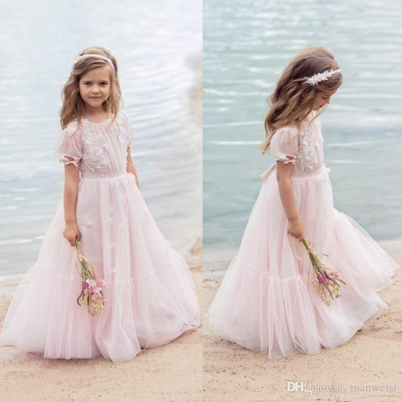 13377a2dd2d5 Designer Blush Pink Bohemia Flower Girl Dresses For Wedding With Short  Sleeves 3D Appliqued Toddler Pageant Gowns Tulle Kids Communion Dress Red Flower  Girl ...
