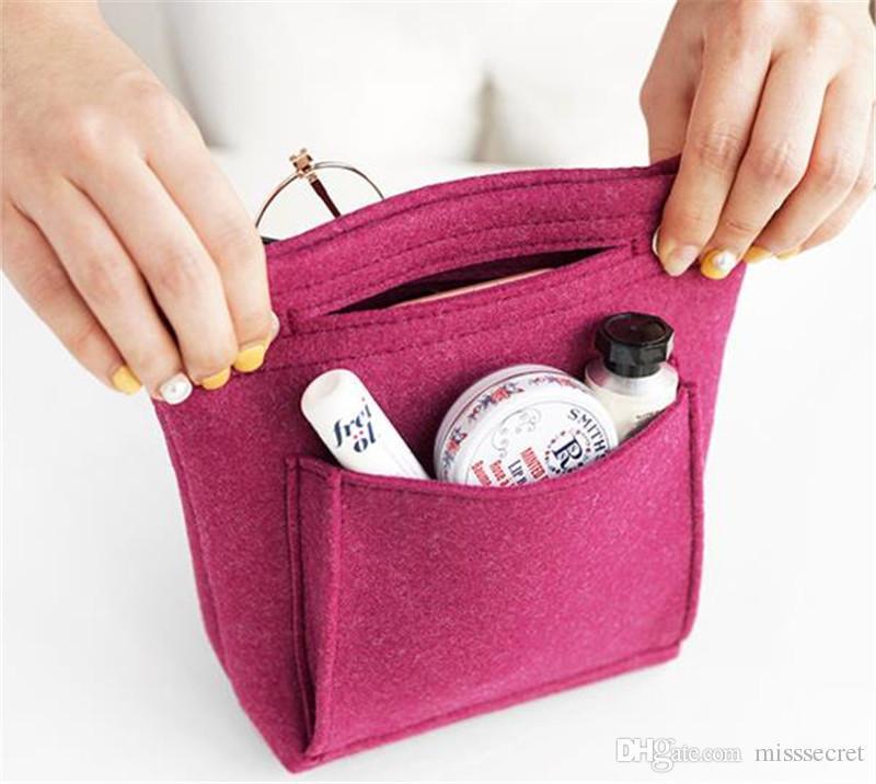 2018 New Multifunctional Women Cosmetic Bag Makeup Bag Makeup Organizer Felt Cloth Insert Bag Ladies Travel Organizer