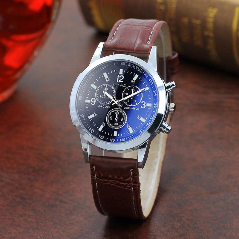 Mens Watches Roman Numerals Blue Ray Glass Men Luxury Leather Analog Quartz Business Wrist Watch Men's Clock fast free shipping
