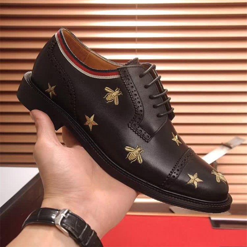 8c2ba80e7a3c9 2018 Top Quality Brand Formal Dress Shoes For Gentle Men Black Genuine  Leather Shoes Little Bee Toe Men'S Business Oxfords Casual Shoes Dansko  Shoes Tennis ...