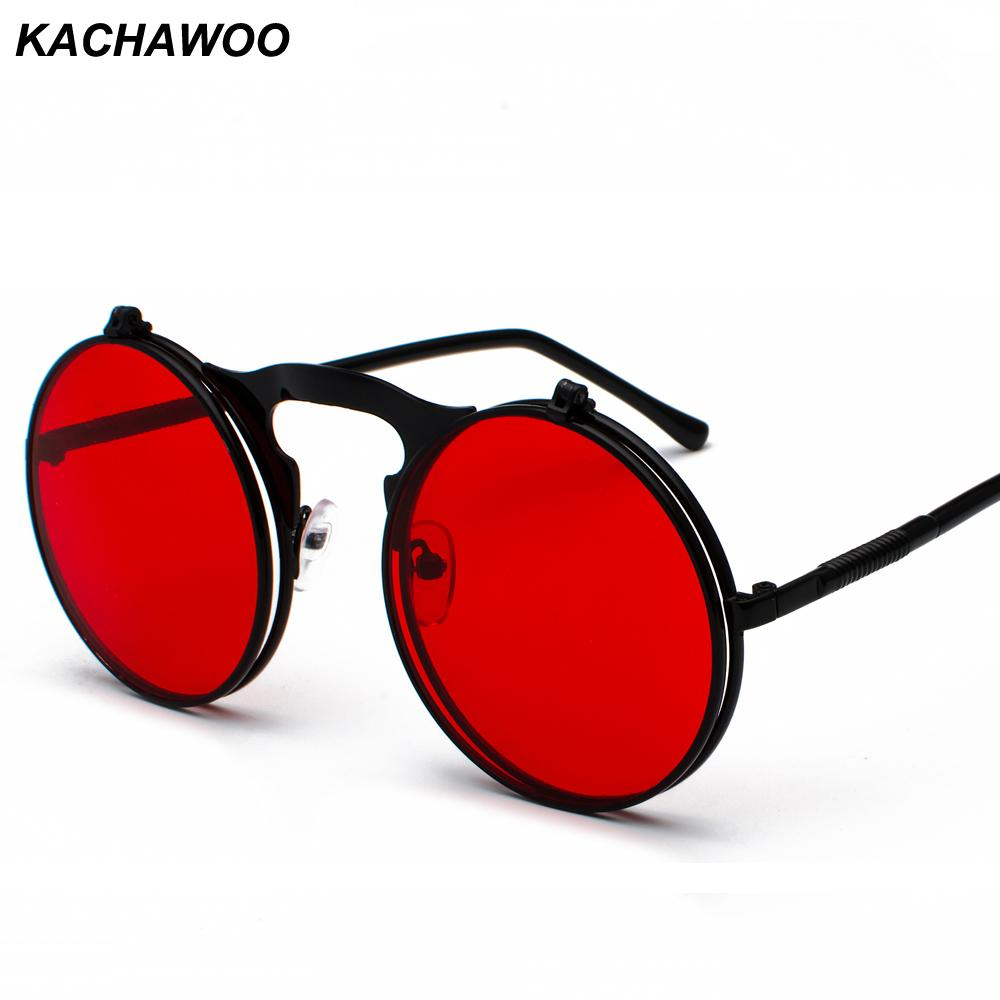 5c4d5ee62d9 Kachawoo Wholesale Round Flip Up Sunglasses Retro Men Metal Frame Red  Yellow Lens Accessories Unisex Sun Glasses For Women Cat Eye Sunglasses  Round ...