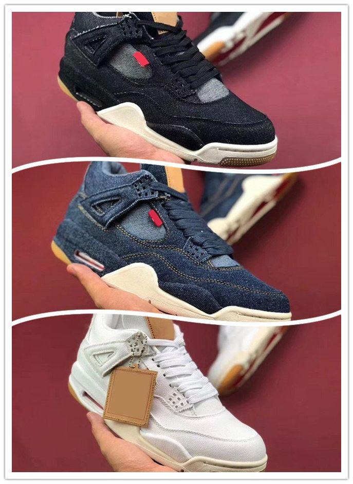 1458900d176 Wholesale Basketball Shoes Mens 4 4s Denim LS Jeans Travis Blue White Black  Jeans Sneakers Men Shoes High Quality SIZE 40 47 Basketball Shoe Men Shoes  ...