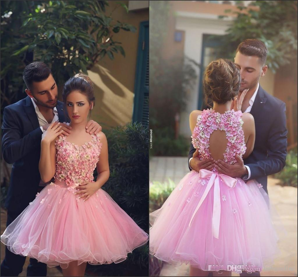 2018 New Pink Halter Neck Backless 3D Flower Cocktail Dresses Elegant Backless Short Prom Dresses Tulle Homecoming Dresses BA1953