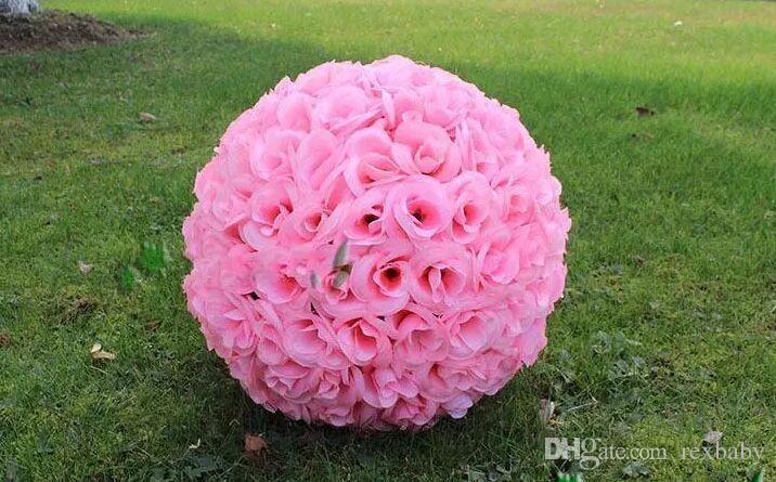 Elegant White Artificial Rose Silk Flower Ball Hanging Kissing Balls 15CM~60CM6Inch~24Inchrose Ball For Wedding Party Decoration