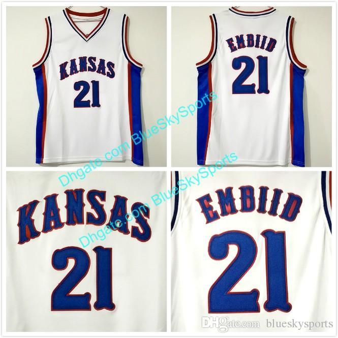 78f02c9ce ... hot 2018 mens joel embiid 21 university of kansas jersey white stitched college  basketball jersey fast