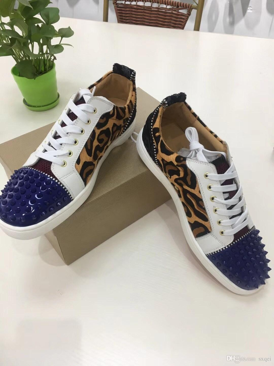 New Leopard Print Glitter Men S Shoes Cow Leather Low Top Red Bottom  Sneakers Unisex Street Wear Brand Casual Flat Shoes Blue Shoes Clogs For  Women From ... 48f3b3f139bd