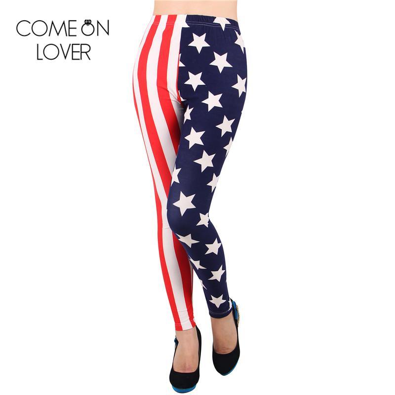 f502f2e8078c38 2019 TE2287 Comeonlover Wholesale And Retail Digital Print Leggings Combed  Cotton Legging American Flag Pants Slimming Women Leggings From Felix06, ...