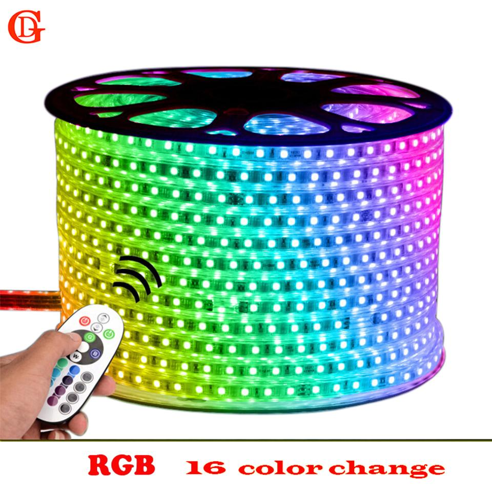 100m smd rgb 5050 led strip 220v 230v 240v waterproof led lights ip65 verlichting neon light tiras bandeir remote control light strip 12v led strip lights