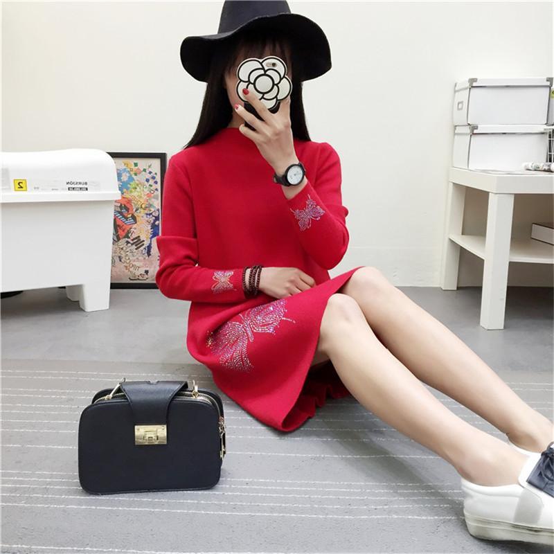 2018 New Autumn Winter Dress Women Long Sleeved Turtleneck Knitted Pullover Sweater Dress Plus Size Loose Long Wool Vestidos C22