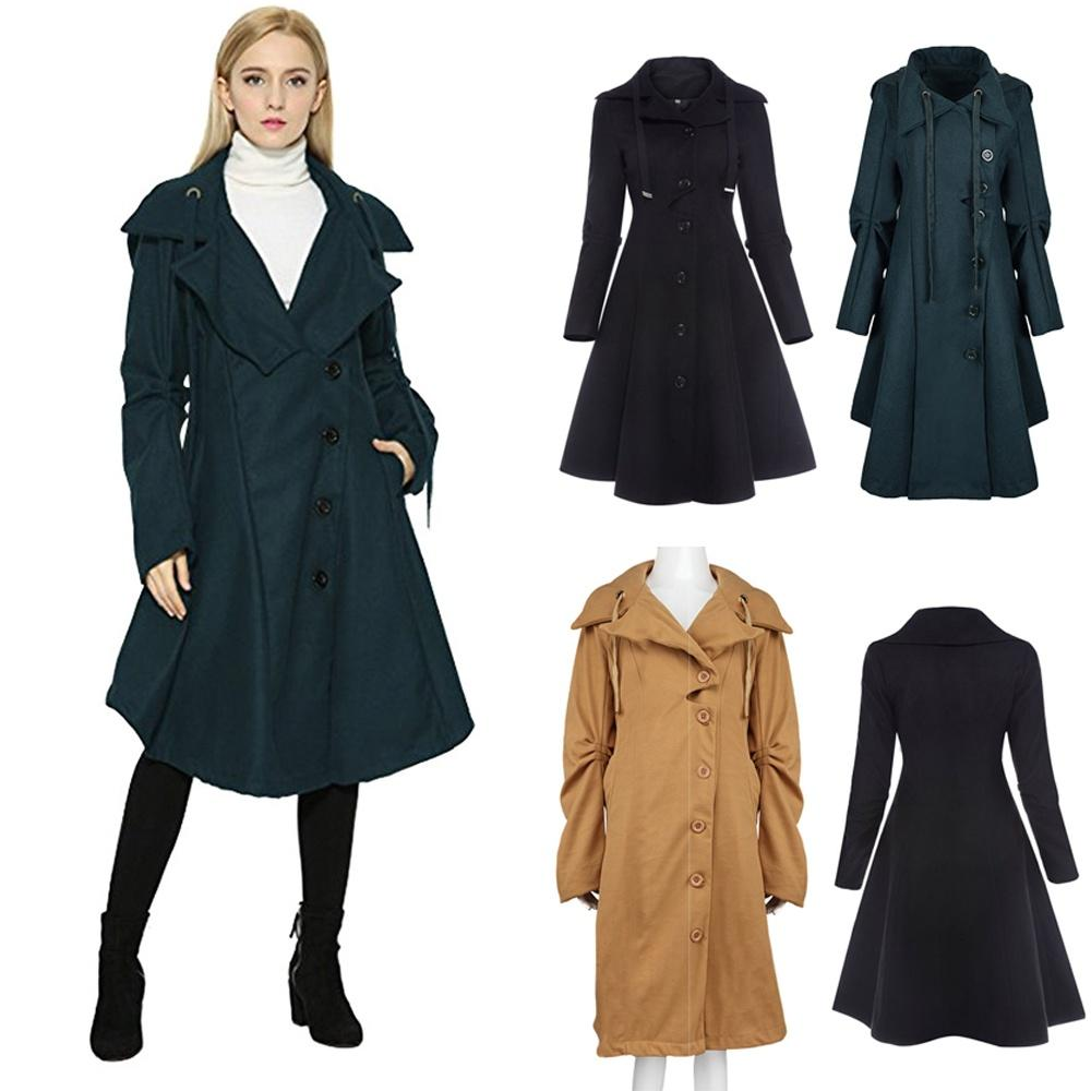 Elegante Negro Mujer Línea Otoño Una Vintage Abrigo Compre Gótico wHPxaZqP
