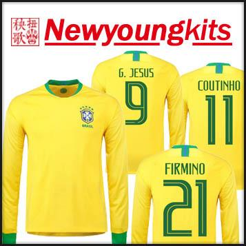 2018 Brasil Camiseta De Fútbol De Manga Larga Jersey 18 19 Amarilla  Uniformes De Fútbol G.JESUS COUTINHO CASEMIRO Camiseta De Fútbol Firminho  Por ... 8921a20bfe431