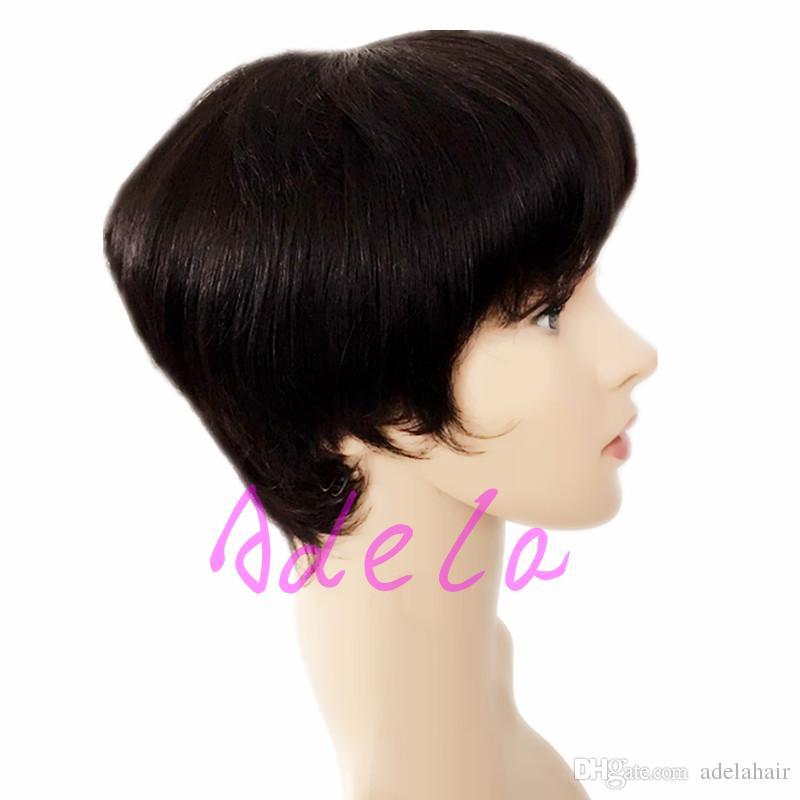 Hot Sale Pixie wigs 130 Density Hot short cut wigs glueless brazilian short full lace bob human hair wigs bob for black women