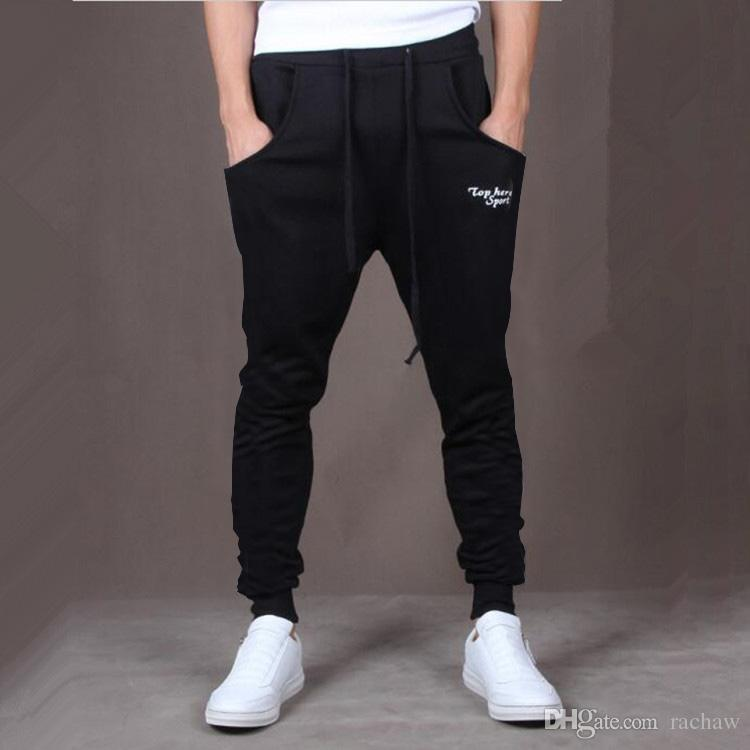 Wholesale-Hot! New Brand Mens Joggers Casual Harem Sweatpants Sport Pants Men Gym Bottoms Track Training Jogging Trousers+