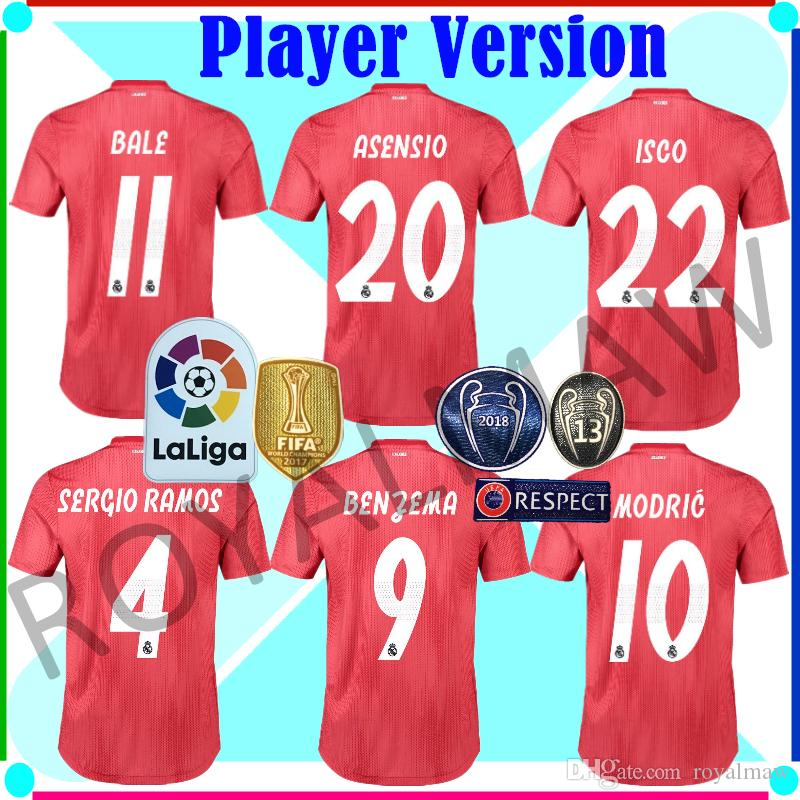 New Real Madrid Jersey 18 19 Third Red Player Version Away Soccer ... 7b83a94a733d3