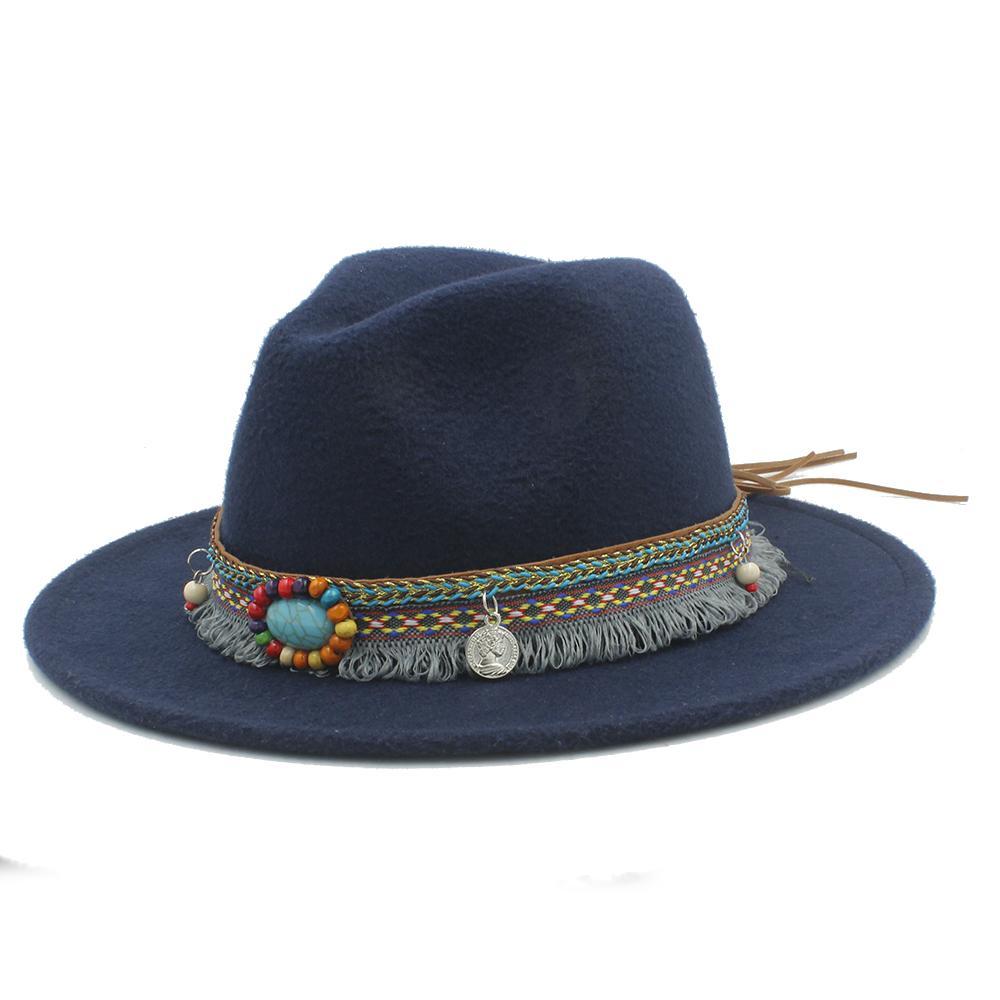 48d99573b5c New Wool Women Men Felt Fedora Hat With Tassel Bohemia Ribbon Elegant Lady  Winter Autumn Jazz Godfather Sombrero Caps UK 2019 From Splendone