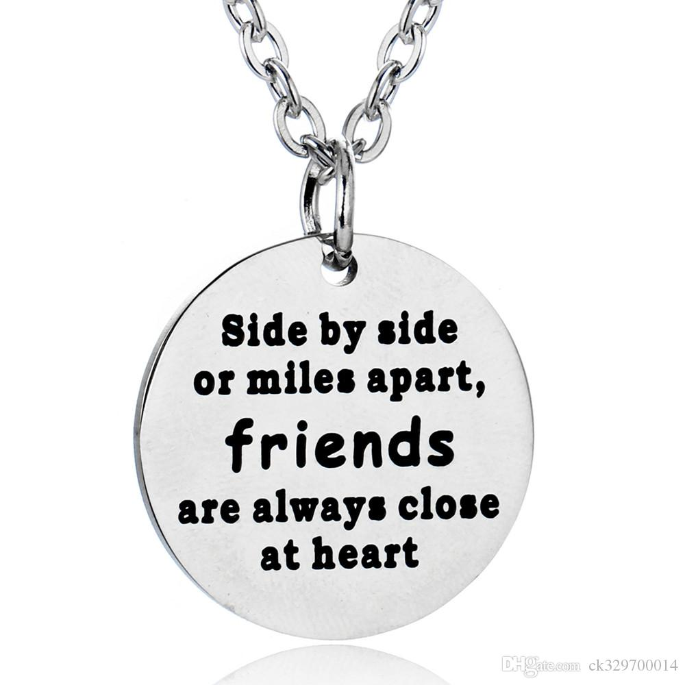 wholesale 10pcs/lot 'Side by Side or miles apart,friends are always close  at heart' charm necklace Women Men Friend Necklace