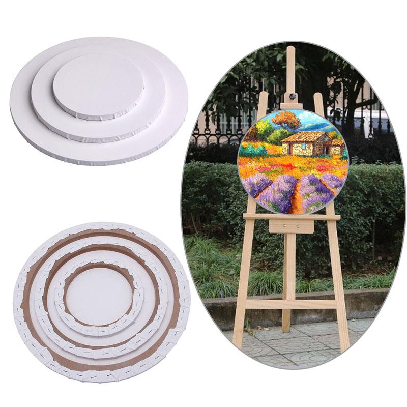 1 Pc White Canvas Board Wooden Frame Blank Panels Round Art Artist Painting Crafts