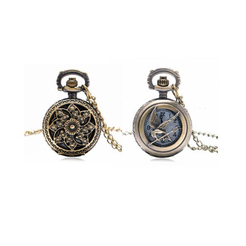 Hollow Pocket Watch Small Size Cute Retro Beautiful Flowers or Bird Pendant Necklace Bracelet Pocket Watch Best Gift