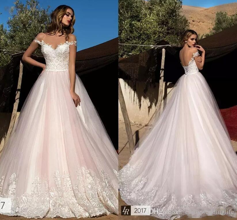Discount Blush Pink Lace Wedding Dresses 2018 Sheer Neck Capped ...
