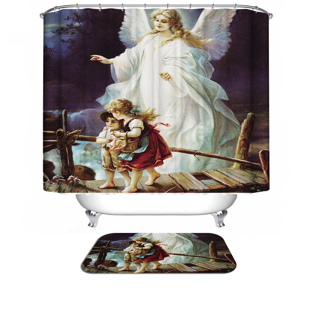 2019 New Angel Christmas Shower Curtain 3d Modern Design Plant Waterproof Fabric Bath Curtains For Bathroom In The From Hymen