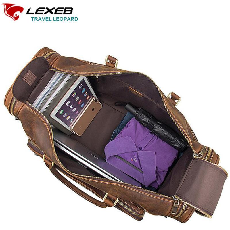 66712753b5f Acheter LEXEB Cuir Pleine Fleur Business Travel Duffle Pour Hommes Nuit  Weekender Big Bag Porter Bagages Top Qualité Grande Marron De  292.09 Du  Trendone ...
