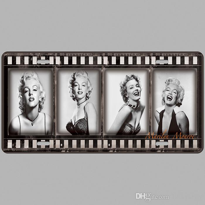 Marilyn Monroe Car Plates Number USA License Plate Garage Plaque Metal Tin Sign Bar Decoration Vintage Home Decor